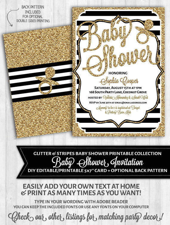 Baby shower invitations black and white stripes gold glitter baby shower invitations black and white stripes gold glitter filmwisefo