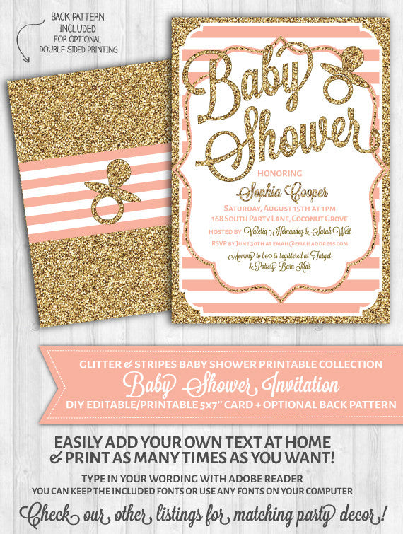image about Printable Baby Shower Invitations titled Youngster Shower Invites: Blush Crimson Stripes Gold Glitter