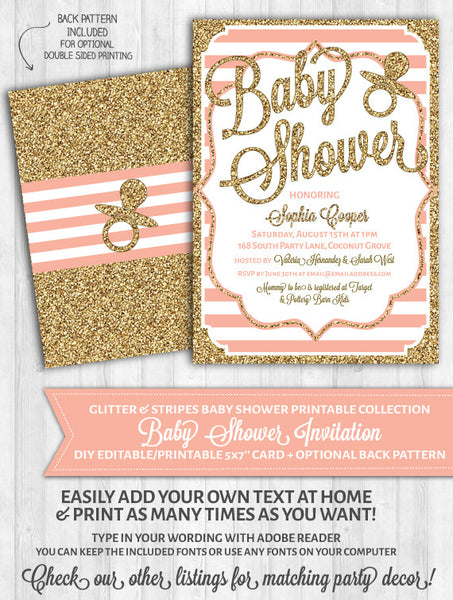 Baby Shower Invitations: Blush Pink Stripes & Gold Glitter