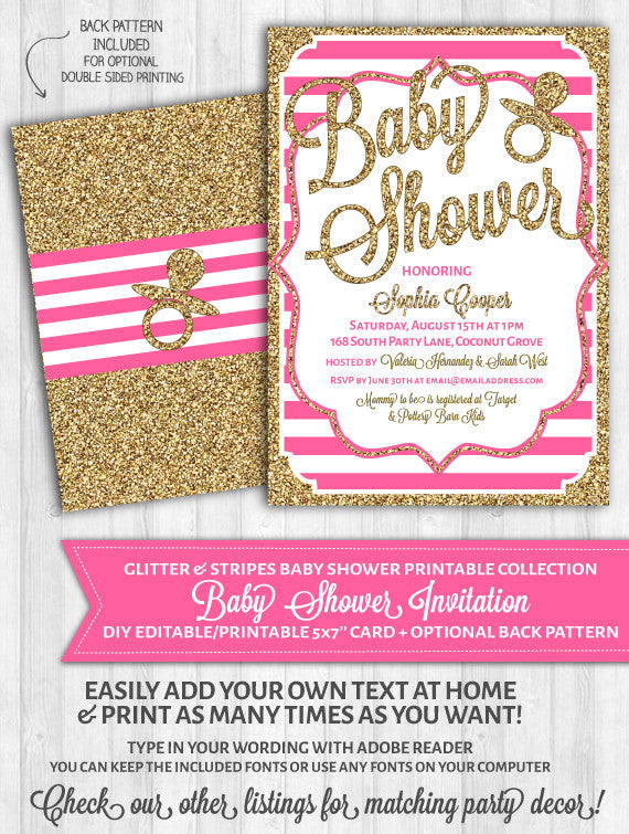 Baby shower invitation printable girl blush pink gold glitter stripes pacifier