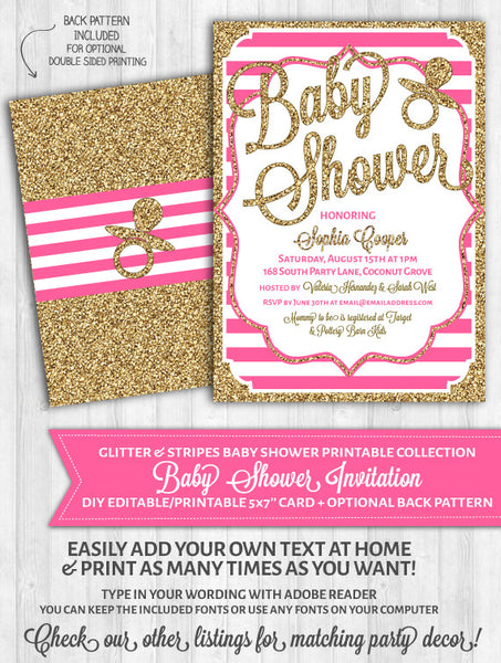 Baby Shower Invitations: Bright Pink Stripes & Gold Glitter