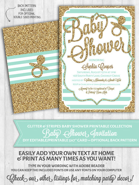Baby Shower Invitations: Mint Stripes & Gold Glitter