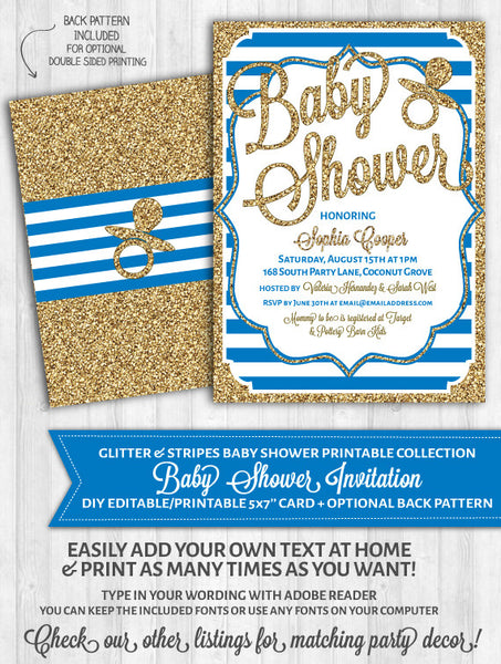 Baby Shower Invitations: Deep Blue Stripes & Gold Glitter
