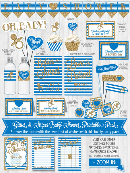 Baby Shower Decor: Gold Glitter & Navy Blue Stripes