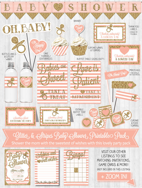 Baby Shower Decor: Gold Glitter & Blush Pink Stripes