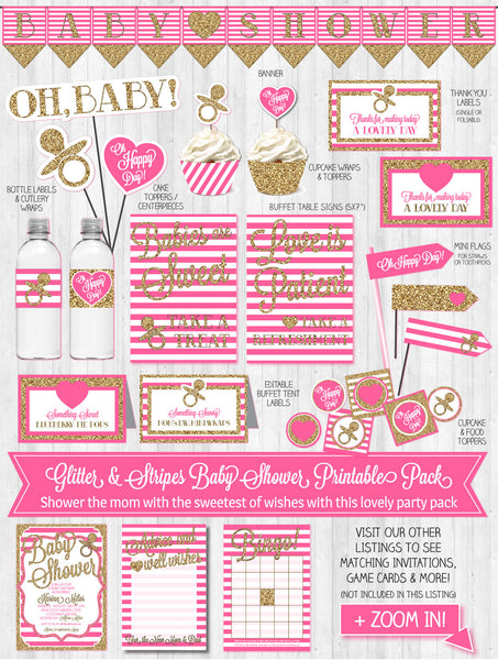 Baby Shower Decor: Gold Glitter & Bright Pink Stripes