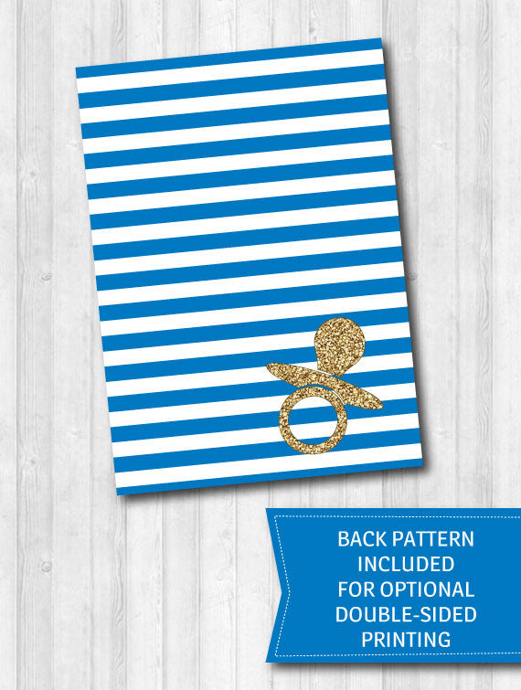 Blue baby shower games gold glitter stripes