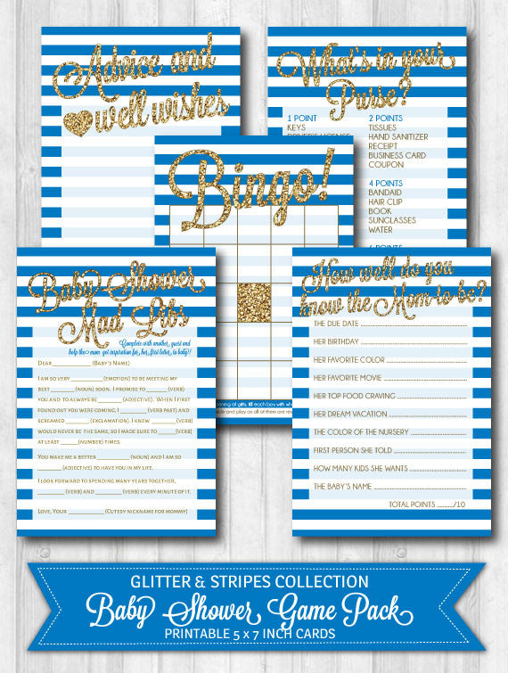 Baby shower games navy blue gold glitter stripes