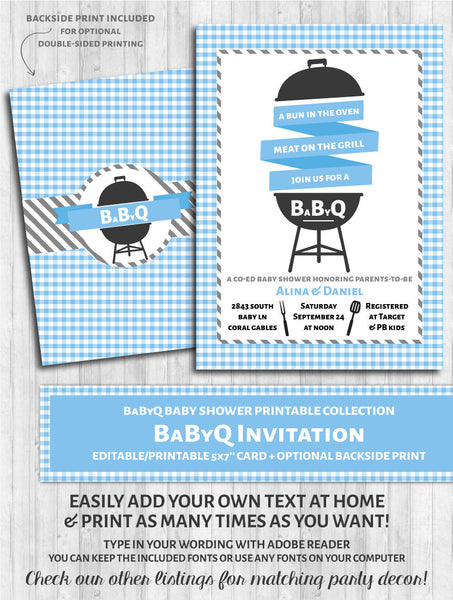 BaByQ Invitations - Baby Shower BBQ Blue & Gray