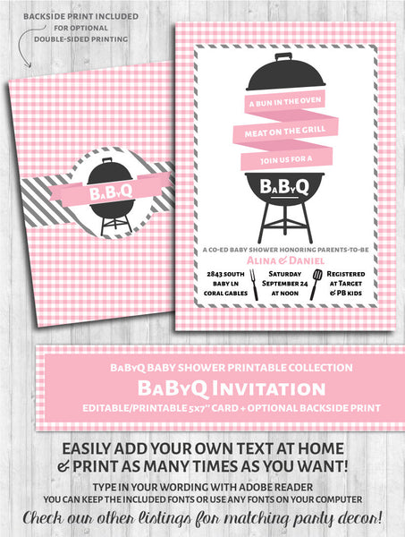 BaByQ Invitations - Baby Shower BBQ Pink & Gray