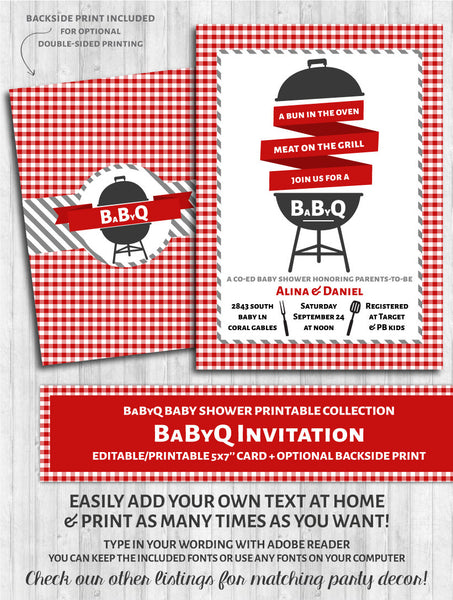 BaByQ Invitations - Baby Shower BBQ Red & Gray