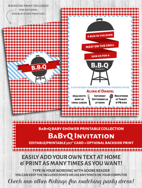 BaByQ Invitations - Baby Shower BBQ Red & Blue