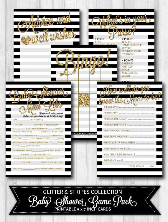 baby shower game activity pack black and white stripes gold glitter