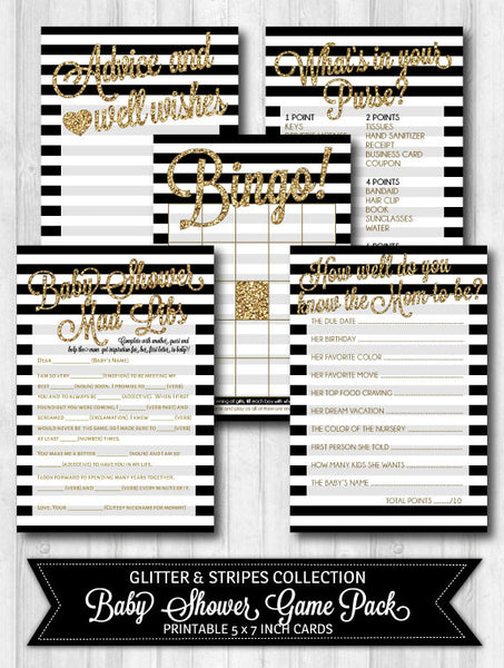 Baby Shower Games: Gold Glitter, Black & White Stripes