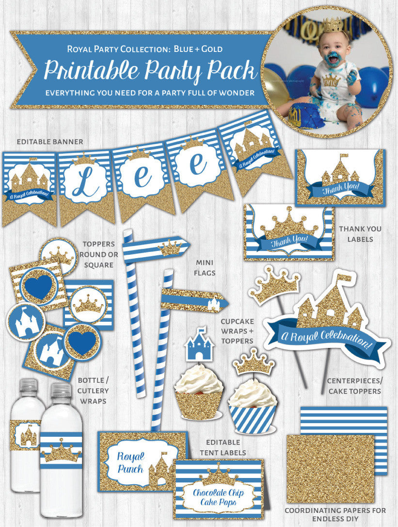 Royal Party Printable Decor Pack: Blue & Gold Glitter