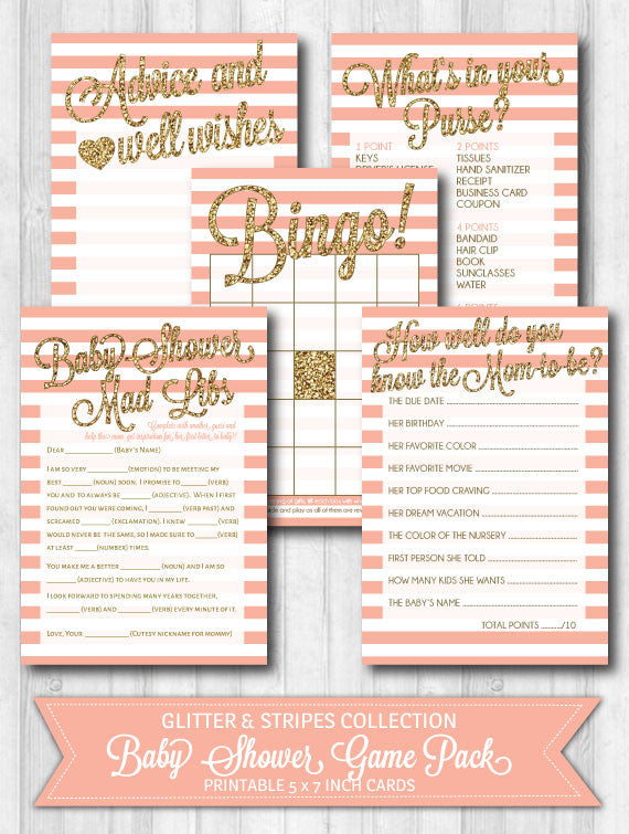 Baby shower games gold blush pink glitter stripes WonderBash