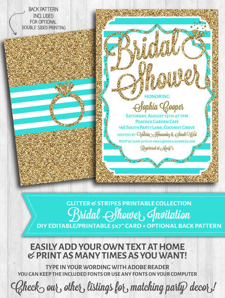 Bridal Shower Invitation: Aqua stripes and gold glitter