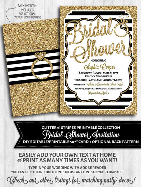 Bridal Shower Invitation: Black stripes and gold glitter