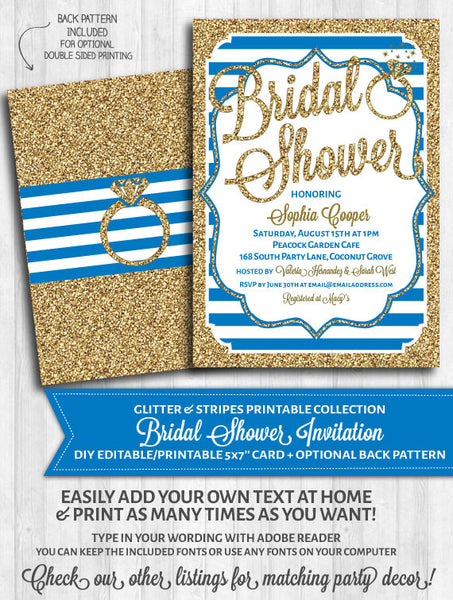 Bridal Shower Invitation: Blue stripes and gold glitter