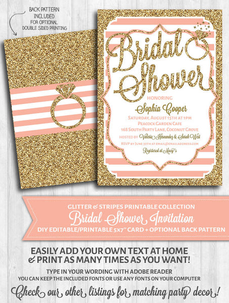 Bridal Shower Invitation: Blush pink stripes and gold glitter