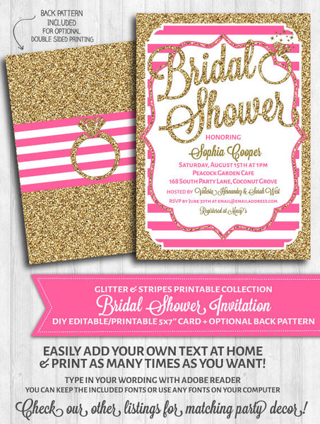 Bridal Shower Invitation: Bright pink stripes and gold glitter