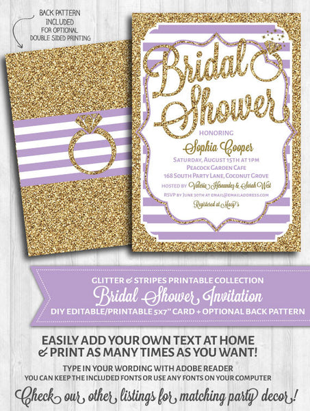 Bridal Shower Invitation: Purple stripes and gold glitter