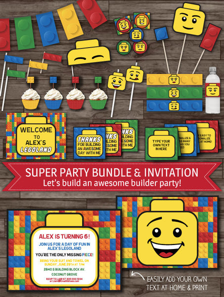 Building Block Party Decor - Builder Party Pack
