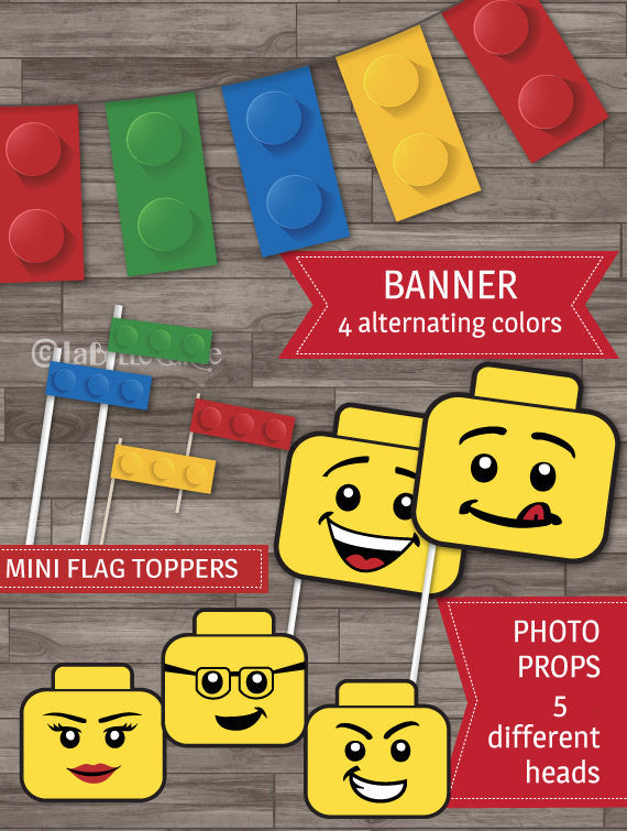 Builder party inspired by Lego party decor banner flags straw toppers