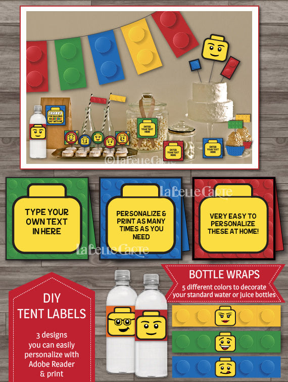 Builder party inspired by Lego party decor pack buffet labels bottle wraps