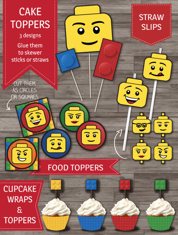 Builder party inspired by Lego party decor pack cake toppers