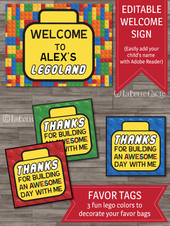 Builder party inspired by Lego party decor pack invitations thank you tags labels