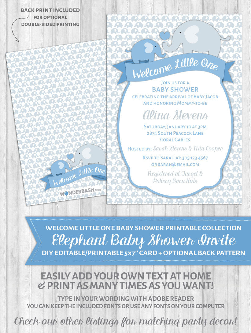 Elephant Baby Shower Invitations Blue Welcome Little One