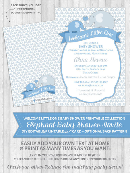 Elephant Baby Shower Invitations Blue - Welcome Little One