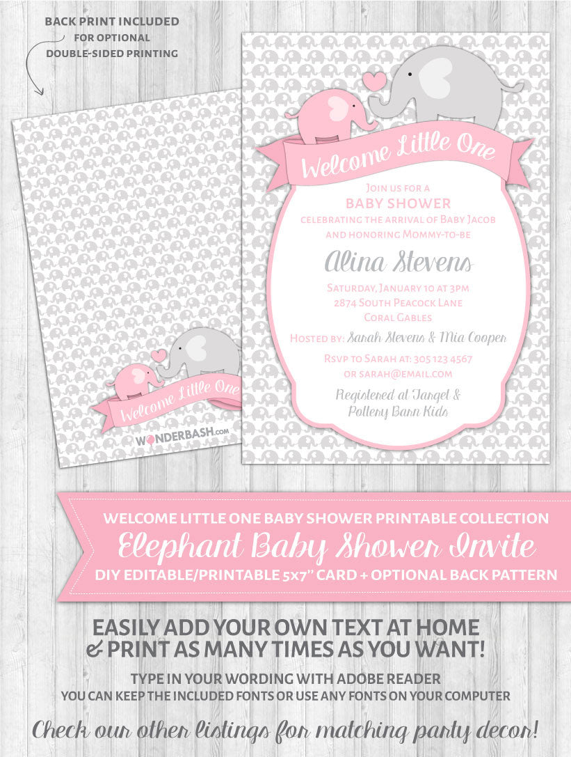 Elephant Baby Shower Invitations Pink - Welcome Little One – WonderBash