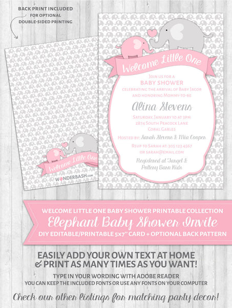 Elephant Baby Shower Invitations Pink - Welcome Little One