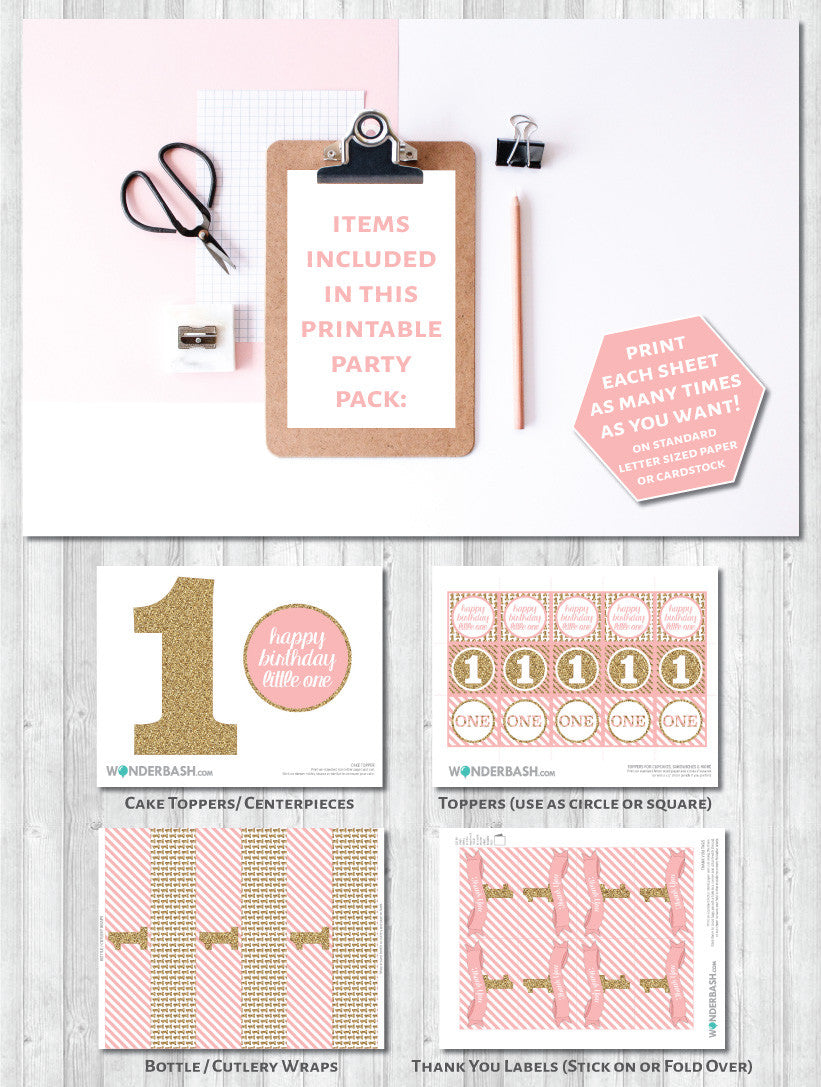 First birthday party decor pack - what's included