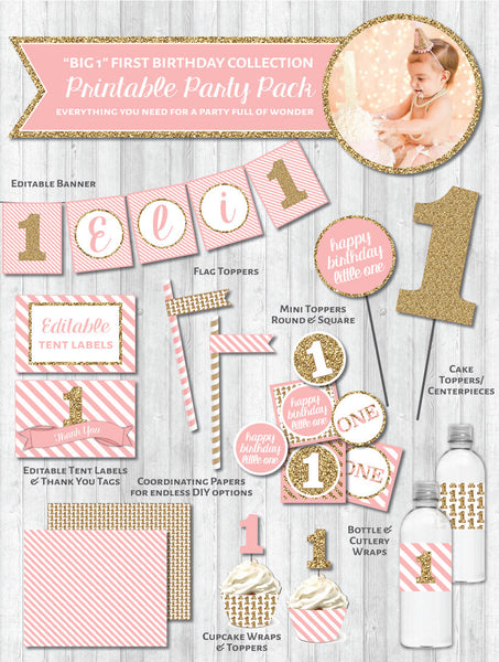 First Birthday Party Printable Decor Pack: BIG 1 in Gold Glitter & Blush Pink