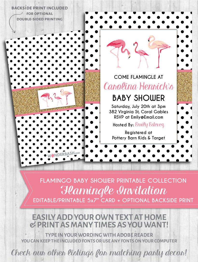 graphic about Baby Shower Printable Invitations named Flamingo Child Shower Invitation - Polka Gold