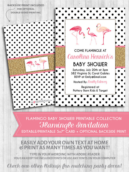 Flamingo Baby Shower Invitation - Polka Gold