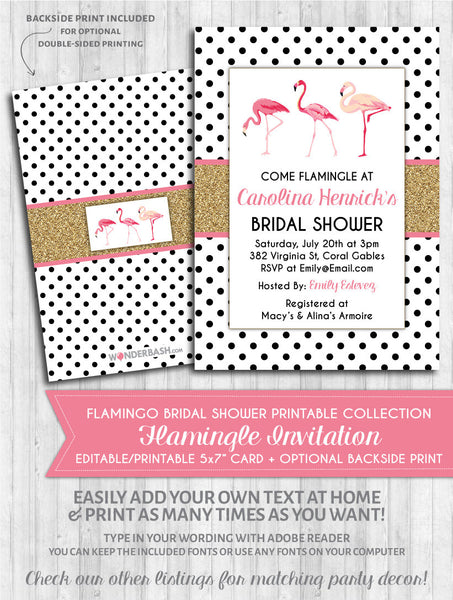 Flamingo Bridal Shower Invitation - Polka Gold