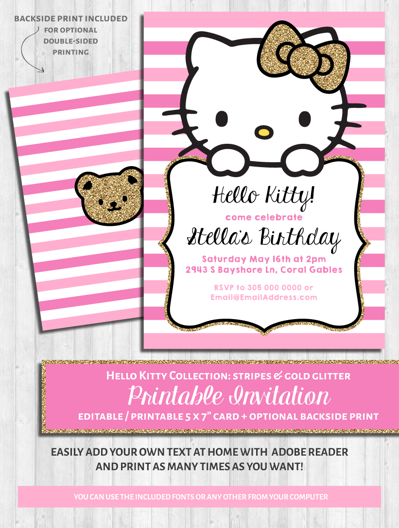 Hello Kitty Party Invitations Pink Gold Glitter WonderBash