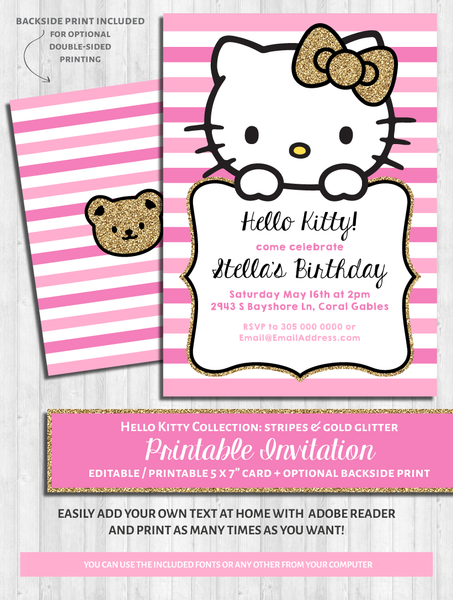 Hello Kitty Party Invitations: Pink & Gold Glitter