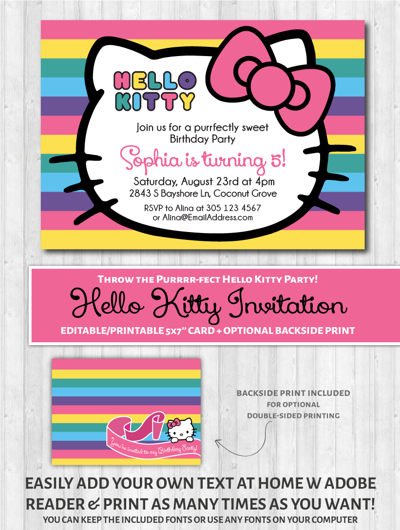 hello kitty printable invitation rainbow wonderbash hello kitty printable invitation rainbow