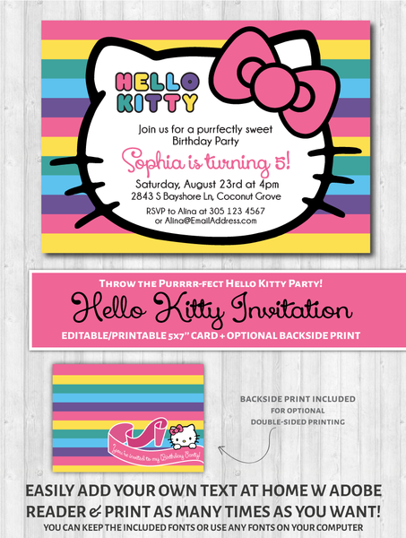 Hello Kitty Printable Invitation - Rainbow
