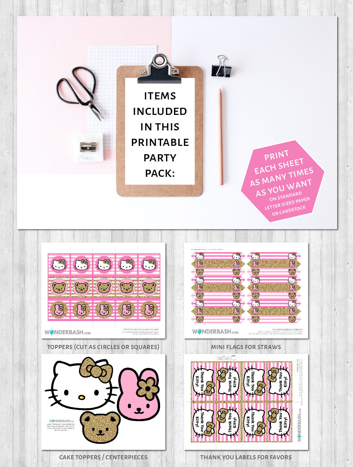Hello kitty party decor pack printable pink gold toppers labels
