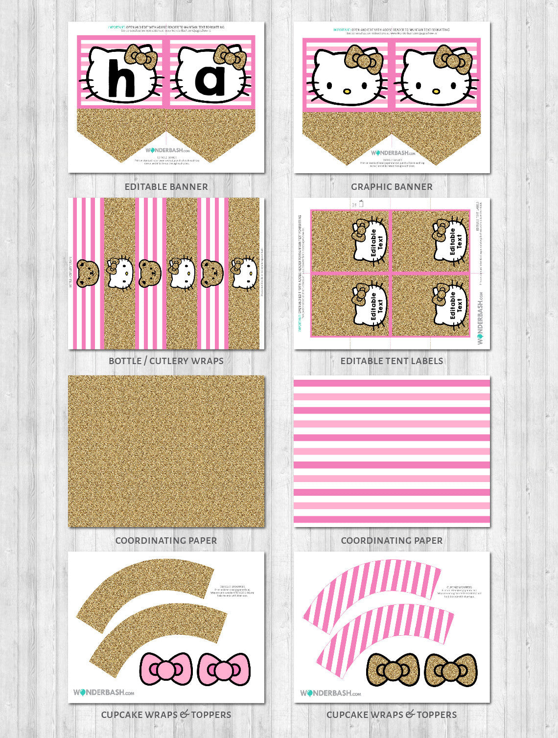 Hello kitty party decor pack printable pink gold banner cupcake wraps