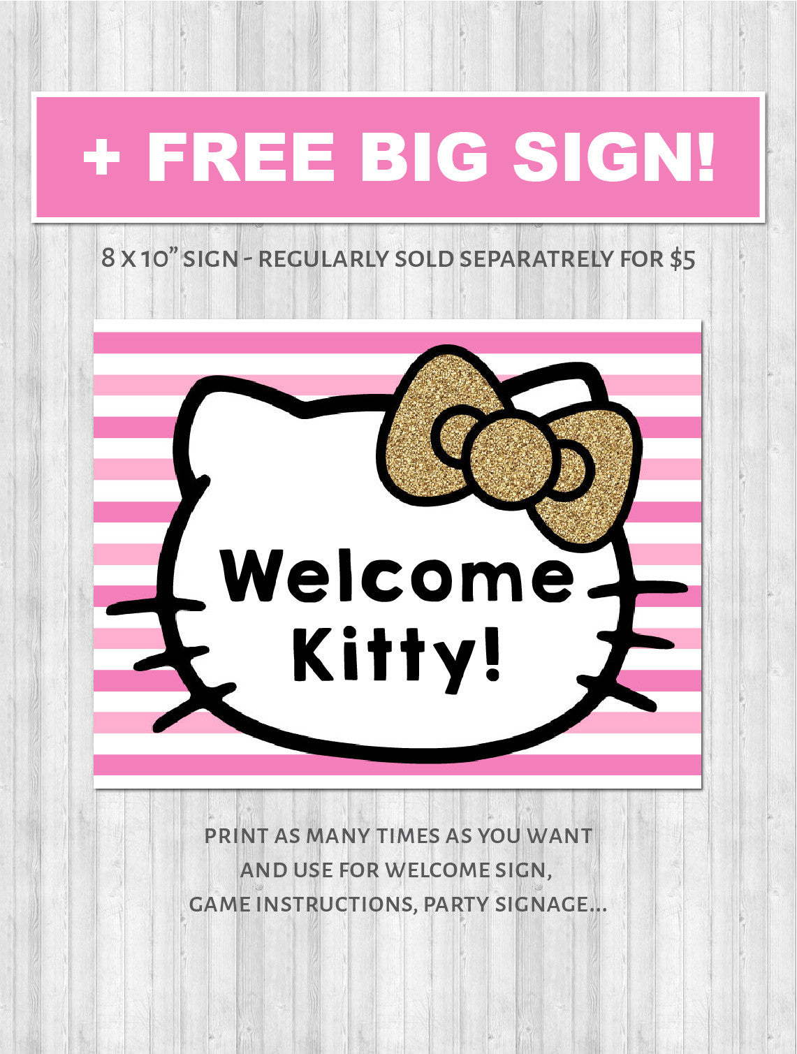 Hello kitty party decor pack printable pink gold poster sign