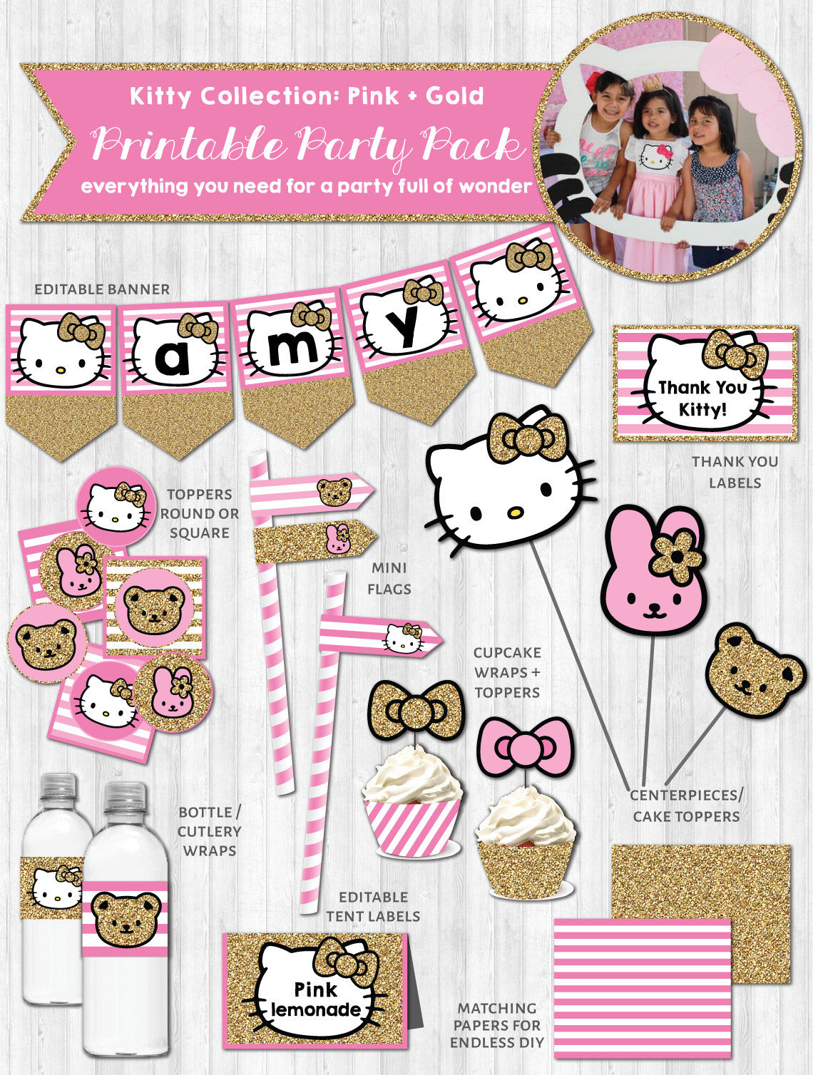 Hello kitty party decor pack printable pink gold