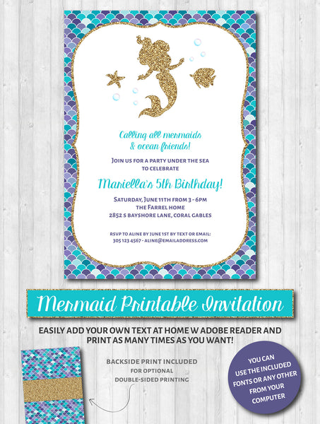 Mermaid Party Invitations: Aqua, purple & gold glitter