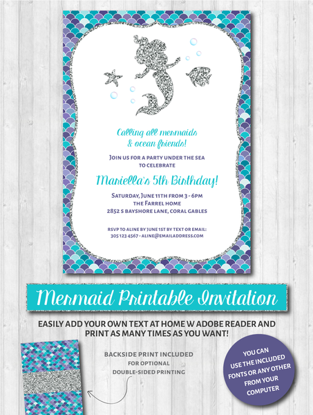Mermaid Party Invitations: Aqua, purple & silver glitter